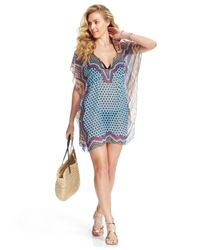 Becca   Blue Printed Tie-back Cover-up   Lyst