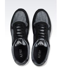 Armani Jeans - Gray Sneaker In Logo Patterned Technical Fabric for Men - Lyst