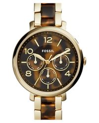 Fossil | Metallic 'jacqueline' Chronograph Bracelet Watch | Lyst