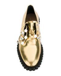 Coliac Metallic Cake Embellished Leather Loafers