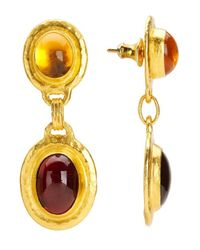Gurhan | Metallic Muse 24k Yellow Gold Two-stone Drop Earrings | Lyst
