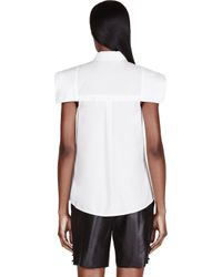 McQ - White Lily Flag Sleeve Blouse - Lyst