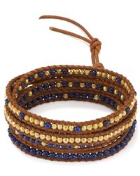 Chan Luu - Lapis & Brown Leather Five Wrap Bracelet - Lyst