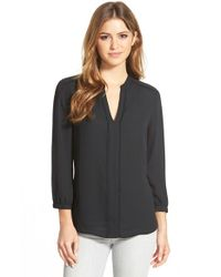 Halogen | Black Fringe Trim Split Neck Blouse | Lyst