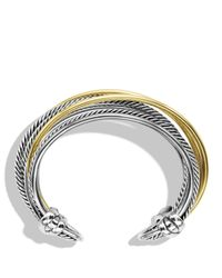 David Yurman | Metallic Crossover Cuff With Gold | Lyst