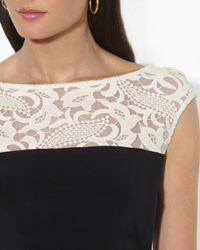 Ralph Lauren - Black Lauren Dress Lace Illusion Neck Matte Jersey - Lyst