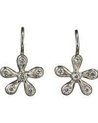 Cathy Waterman - Metallic Pave Diamond Medium Daisy Earrings Size Os - Lyst