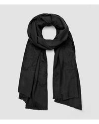 AllSaints | Gray Philomena Embroidered Scarf | Lyst