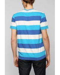 BDG - Blue Triple Bar Stripe Vneck Tee for Men - Lyst