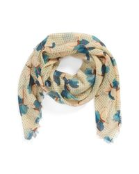 Tory Burch - Multicolor 'Primula Dot' Square Wool Gauze Scarf - Lyst