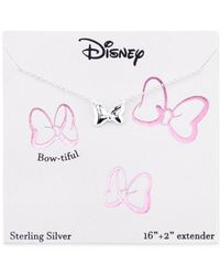 Disney | Metallic Minnie Mouse Bow Pendant Necklace In Sterling Silver | Lyst