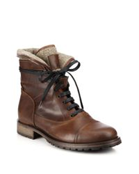Belstaff - Brown Faystar Wool-detail Leather Boots for Men - Lyst
