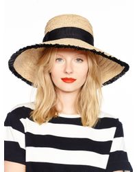 kate spade new york - Black Take A Walk On The Wild Side Fringed Sun Hat - Lyst