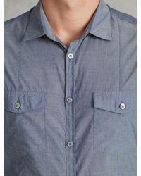 John Varvatos - Blue Denim Style Shirt for Men - Lyst