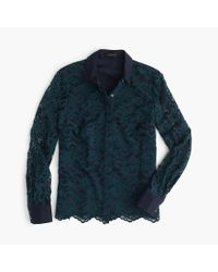 J.Crew | Blue Edged-lace Blouse | Lyst