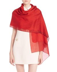Valentino | Red Lace Jacquard Cashmere & Silk Scarf | Lyst