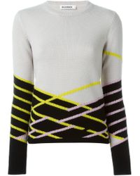 Jil Sander - Natural Graphic Intarsia Sweater - Lyst