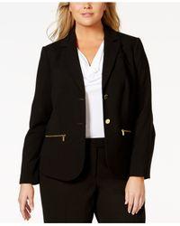 Calvin Klein   Black Plus Size Button-front Zip-pocket Jacket   Lyst