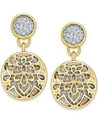 Style & Co. - Metallic Glitter Openwork Drop Earrings - Lyst