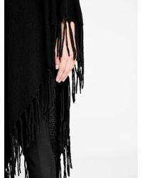 DKNY - Black Poncho With Tassel Hem - Lyst