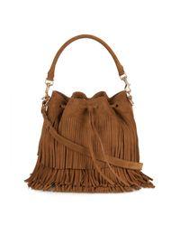 Saint Laurent | Brown Emmanuelle Fringed Suede Bucket Bag | Lyst