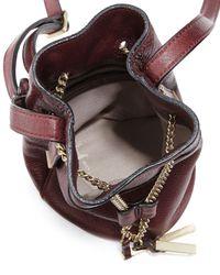 Halston - Purple Chain Handle Leather Mini Bucket Bag - Lyst