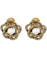 Oscar de la Renta | Metallic Pearl Button Earrings | Lyst