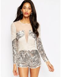 ASOS | Multicolor Heavily Embellished Occasion Playsuit | Lyst
