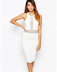 TFNC London - White Bodycon Dress With Mesh Insert Waist - Lyst