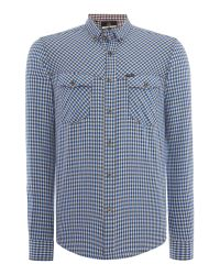 Duck and Cover - Blue Sanderson Long Sleeve Check Shirt for Men - Lyst