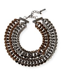 Lafayette 148 New York - Brown Double-chain Link Necklace - Lyst