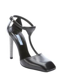 Prada - Black Leather And Metal T-strap Pumps - Lyst