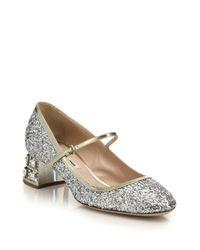 Miu miu Glitter Mary Jane Pumps   Lyst