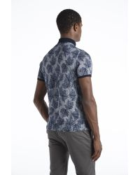Ted Baker | Blue Leaf Print Polo Shirt for Men | Lyst