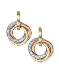 Michael Kors | Metallic Tritone Crystal Pave Ring Earrings | Lyst
