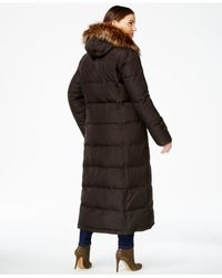 Calvin Klein | Brown Plus Size Faux-fur-trim Quilted Maxi Coat | Lyst