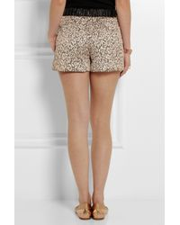 Maje - Brown Fauvisme Metallic Leopard-Jacquard Shorts - Lyst