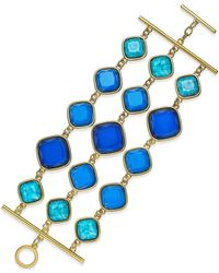 ABS By Allen Schwartz | Gold-tone Blue Stone Three-row Toggle Bracelet | Lyst