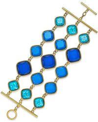 ABS By Allen Schwartz - Gold-tone Blue Stone Three-row Toggle Bracelet - Lyst
