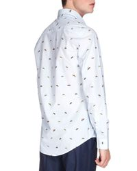 KENZO - Blue Ufo-print Long-sleeve Poplin Shirt for Men - Lyst