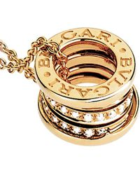BVLGARI | B.zero1 18ct Yellow-gold And Pavé-diamond Pendant | Lyst