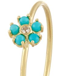 Jennifer Meyer - Blue 18-Karat Gold, Turquoise And Diamond Flower Ring - Lyst