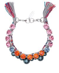 Joomi Lim - Pink Crystal and Pearl Woven Bracelet - Lyst