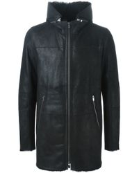 DROMe - Black Leather Parka Coat for Men - Lyst