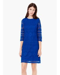 Mango | Blue Embroidery Dress | Lyst