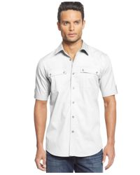 Sean John | White Short Sleeve Twill Shirt for Men | Lyst