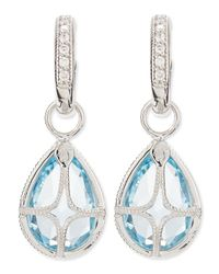 Jude Frances | Pear Blue Topaz Earring Charms With Diamonds | Lyst