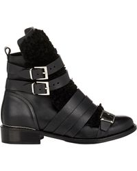 IRO - Black Leather & Shearling Hoonah Boots - Lyst
