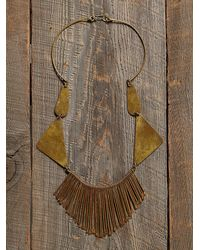 Free People - Brown Womens Vintage Brass Dangle Necklace - Lyst