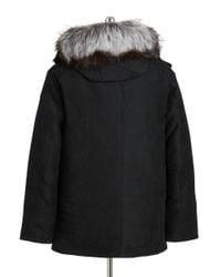 Michael Kors | Black Fox Fur-trimmed Coat for Men | Lyst